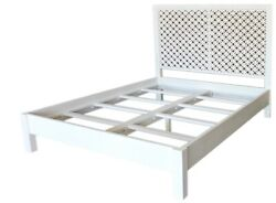 85 Quirico King Bed Solid Acacia Wood White Paint Finish Carved Headboard
