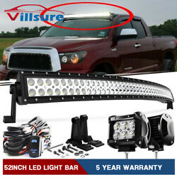 52 Inch Curved Led Light Bar+4 Pods For 07-14 Toyota Tundra/sequoia Upper Roof
