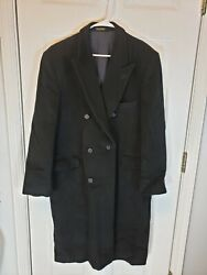 Vintage Adams Row Long Wool And Cashmere Coat Overcoat Mens R 44 Color Black