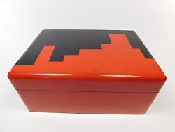 Vintage Lacquer Poker Box Manner Of Donald Deskey Deco Era Abstract Red Black 20