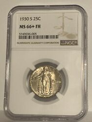 1930 S 25c Ngc Ms 66+ Fh Standing Liberty Silver Quarter Full Head Gem+ Unc Coin