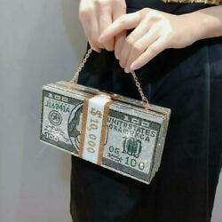 Crystal Money USD Dollar Bags Design Shaming Evening Bags Party Purse $23.85