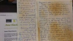 Anne Hutchinson Diary Dated 1637 15 Pages Fm August 3 1637 To January 27 1638
