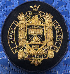 Rare Us Naval Academy Scientia Gold Bullion Embroidery Patch Navy Annapolis Md