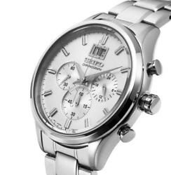 Seiko Spc079p1 Chronograph White Dial Stainless Steel 42mm Menand039s Watch