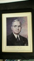 Very Rare Harry S Truman Signed Picture With Jsa Certification And Signed Letter