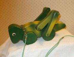 Vintage Handmade Wooden Green Grasshopper Pull Toy Early 1990's 12 Long