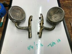 Pair Vintage Early Cowl Lamp Lights Old Auto 1920's 1930's Chrysler Dodge Car