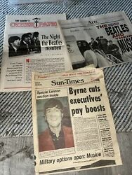 The Beatles Newspaper Lot Of 3 John Lennon And The Beatles 1980, 89, 93