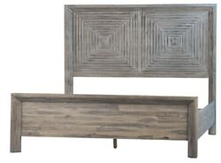 87 Cipriano King Bed Reclaimed Acacia Wood Square Pattern Headboard Grey Finish