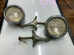 Pair Vintage Early Cowl Lamp Large Lights 1920's 1930's Chrysler Auto Dodge Car