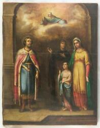 Rare 19c Russian Orthodox Big Old Icon Alexander Nevsky With Saints