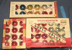 Vintage Lot 3 Boxes Christmas Ornaments,glass Bulbs,coby,gibson,woolworth's