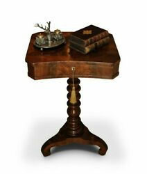 Victorian Flame Mahogany Pedestal Sewing Box Work Table With Fitted Interior