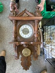 Antique Carved Wood Clock With Brass Pendulum From Germany Pre 1930 Wall Clocks
