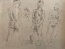 Moses Soyer Pencil Drawing Of Three Nude Females