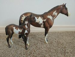 Traditional Breyer horse overo mare and foal set