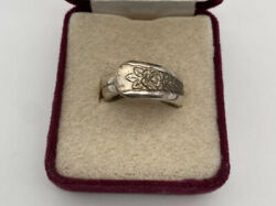 Vintage Wm Rogers And Son Is Silver Plate Floral Spoon Ring Size 6.5