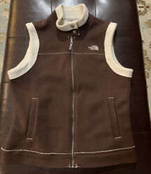 The Northface Women's Full Zip Snap Collar Lined Vest Brown Large $59.99