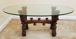 Antique Hand Carved Asian Solid Wood Wooden Coffee Table Glass Top