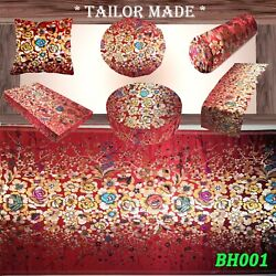 Bh001 Red Flower Shiny Faux Silk Rayon Brocade Cushion Cover Pillow Bolster Case