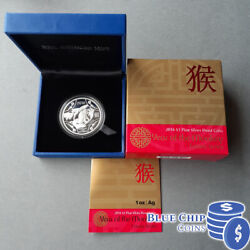 2016 1 Ram Year Of The Monkey 1oz Silver Proof Coin Coa Number 13