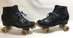 Mens Antique Leather Shoe Roller Skates W/ Chicago Wooden Wheels And Toe Stops