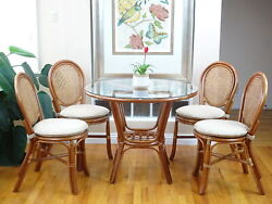 Denver Dining Set Of 4 Rattan Side Chairs And Round Table Glass Colonial