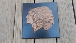 Bronze On Wood American Indian Wall Plaque 10 1/8 In X 10 1/8 Inches Intntl Sale