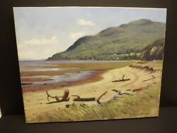 Canada Quebec Painting By Helmut Langeder 16 X 20 Charlevoix, Baie St-paul Beach