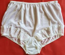 3 Pair Size 7 White 100 Nylon Panties With Lace On Front Leg Made In Usa Panty
