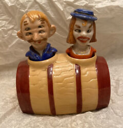 Rare Vintage Four Eye Man And Wife Nodder Salt And Pepper Shakers Patent Tt Japan