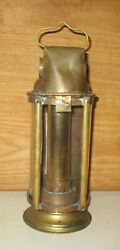Rare Antique Brass Telescopic Adjustable Height Candle Wick Thick Glass Lantern