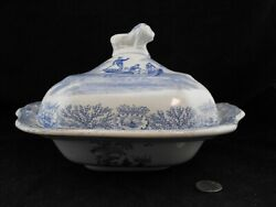 Antique Pre 1890and039s Blue And White Covered Vegetable Serving Bowl With Lion