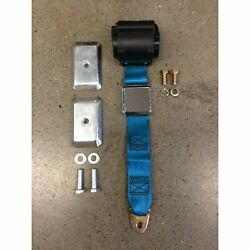 2pt Electric Blue Airplane Buckle Retractable Lap Seat Belt W/plate Hardware V8