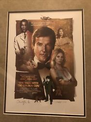 The Man With The Golden Gun Christopher Lee Signed Lithograph Rare Marshall