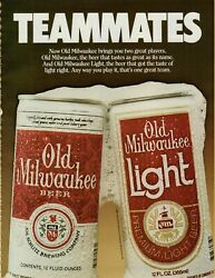 1984 Old Milwaukee Beer Light Teammates Foam Cans Photo Poster Vintage Print Ad