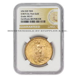 1924 20 Gold Saint Gaudens Ngc Ms61 Choice Grade Philadelphia Mint Us Coin