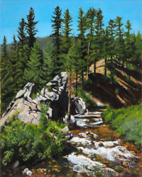 Robert West Big Roaring River Featherville Idaho Oil Painting On Canvas 20x16