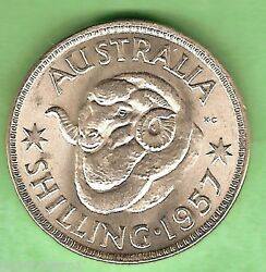 C33. Uncirculated 1957 Australian Silver One Shilling Coin