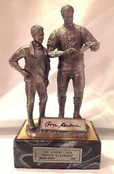 Roger Staubach Signed The Legend Lives Pewter Figure Coa + Cot By Michael Ricker