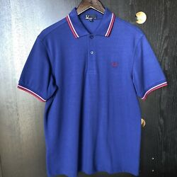 Fred Perry Navy Blue Pique Cotton Twin Tipped Polo Classic Fit Medium M3600 $40.00