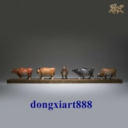 94 Cm China Pure Brass Five Cows Wealth Wall Street Ox Bull Statue Sculpture