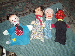 Vintage 3 Western Germany Punch Judy And Tommy Tramp Knickerbocker Puppet Lot Of 4
