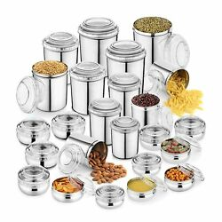 24 Pcs Stainless Steel Canister Set And Puri Dabba Set Storage Box