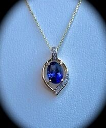 0.96ct Tanzanite And Dia Pendant 9k Y Gold 'certified Aa' Fab Colour Bnwt