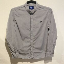 Fred Perry Mens Large Shirt Black White Check Long Sleeves Button Down Slim Fit $29.99