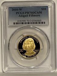 2010-w 10 Abigail Fillmore First Spouse 1/2 Oz .9999 Gold Proof Coin Pcgs Pr70