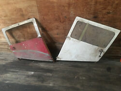 Two Vintage Taylorcraft Bc-12d Aluminum Doors With Wood Frames