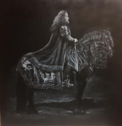 William John Jr Black Horse Mounted Knight In The Knight 24x24 Acrylic Painting